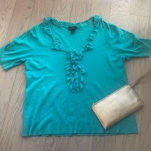 Plus size turquoise blouse